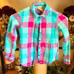 ❄️Girls pink/blue Faded Glory button up top